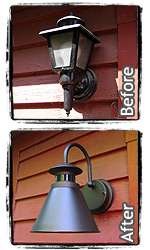 Back Porch light fixture upgrade.