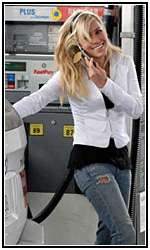 Some bimbo pumping gas and talking on the phone  Im pretty sure youre not supposed to do that.