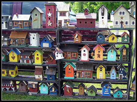 Neat artsy custom birdhouses.