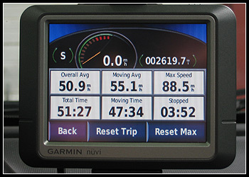 Garmin Nuvi 260 Vacation Statistics