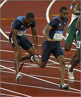 Tyson Gay drops the baton…