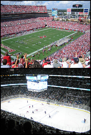 Raymond James Stadium and the St. Pete Times Forum