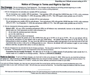 Notice of Change in Terms