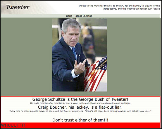 Tweeter&#039;s Web Site on the last day.