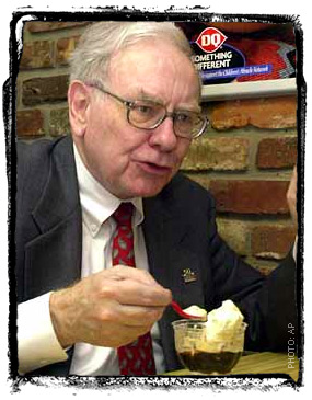 Warren Buffett enjoying a sundae at Dairy Queen.