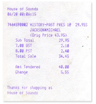 June 20, 1995 receipt from the last Michael Jackson purchase.